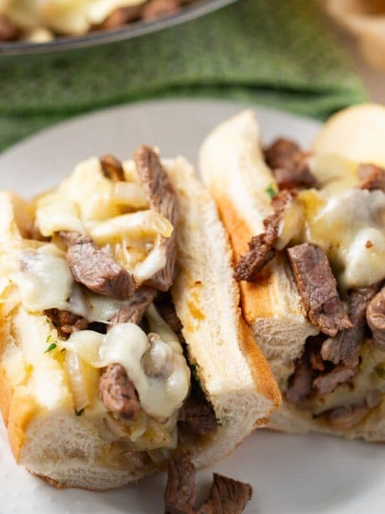 cheesesteak sandwich on plate