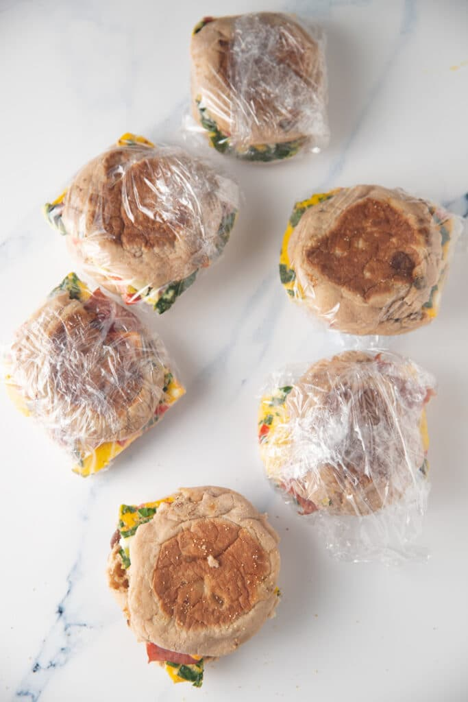 breakfast sandwiches wrapped on marble