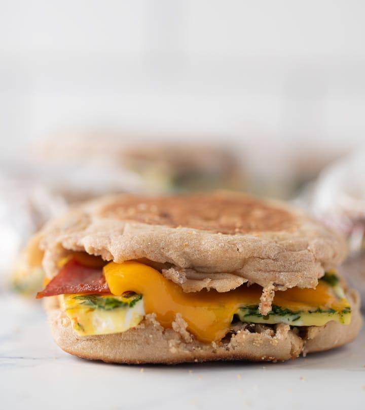 close up of cheesy breakfast sandwich