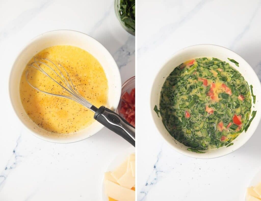 collage of beaten eggs and spinach and tomato in white bowl