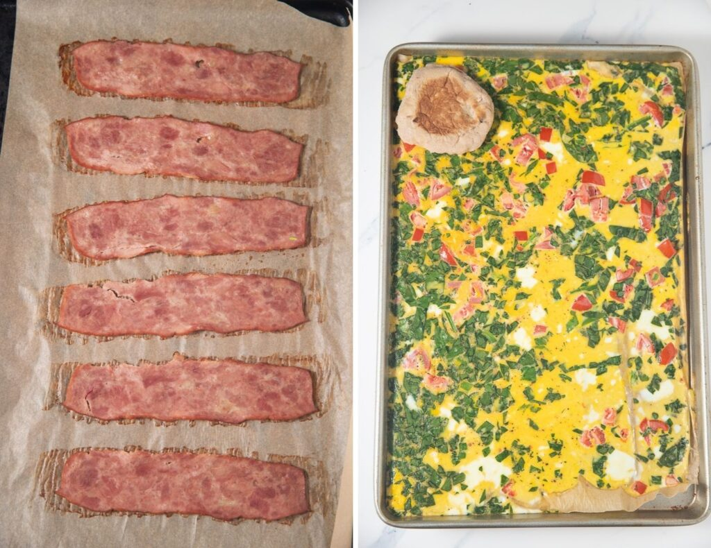 collage of cooked turkey bacon and baked eggs with an english muffon on top of eggs