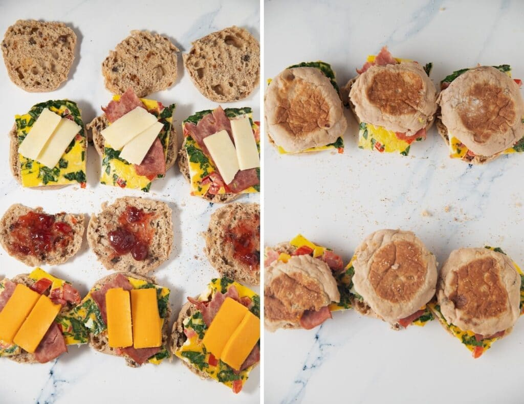 collage of sandwiches being assembled