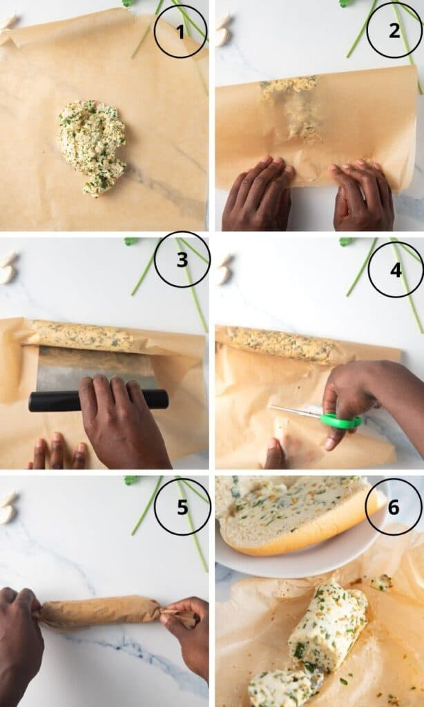 Step by step photos to show how to wrap the butter