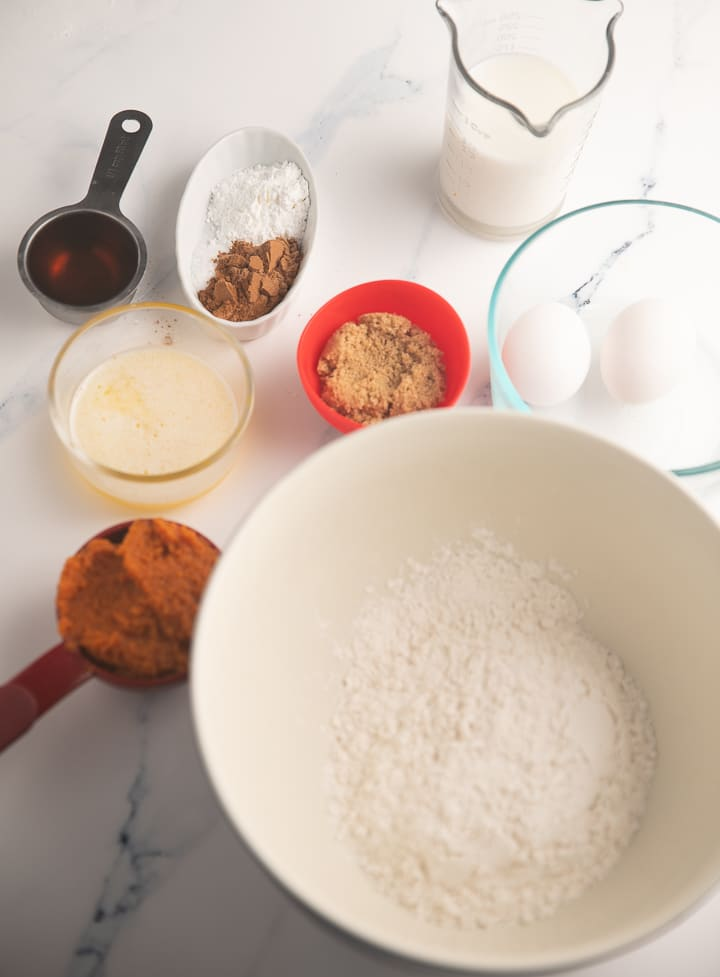 Ingredients to make the waffles