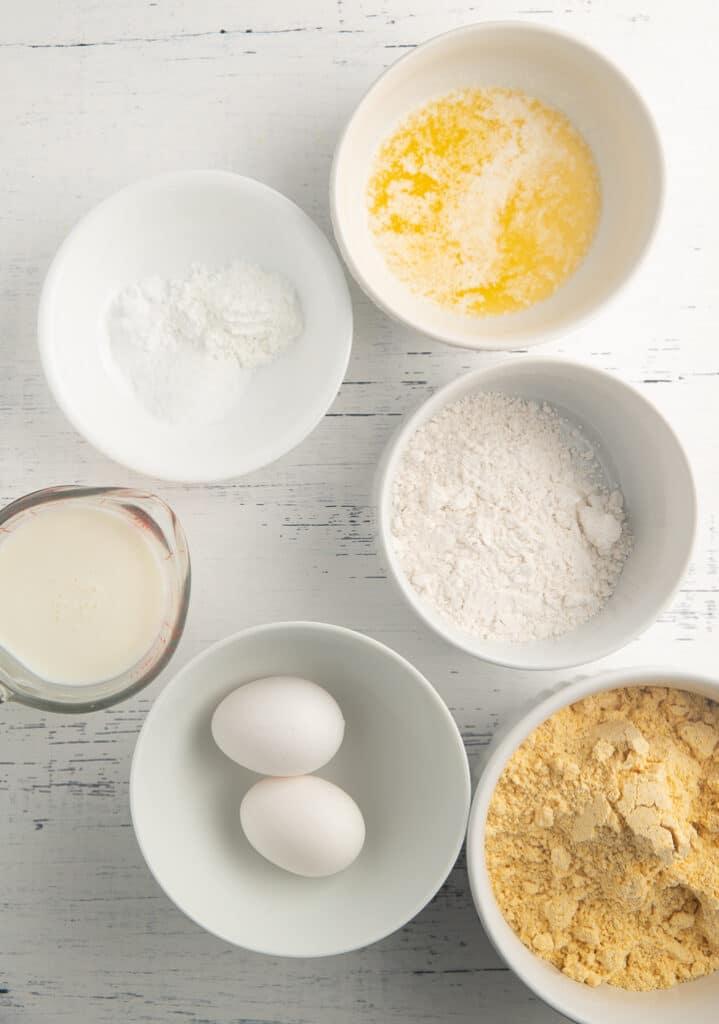 Ingredients in white bowls