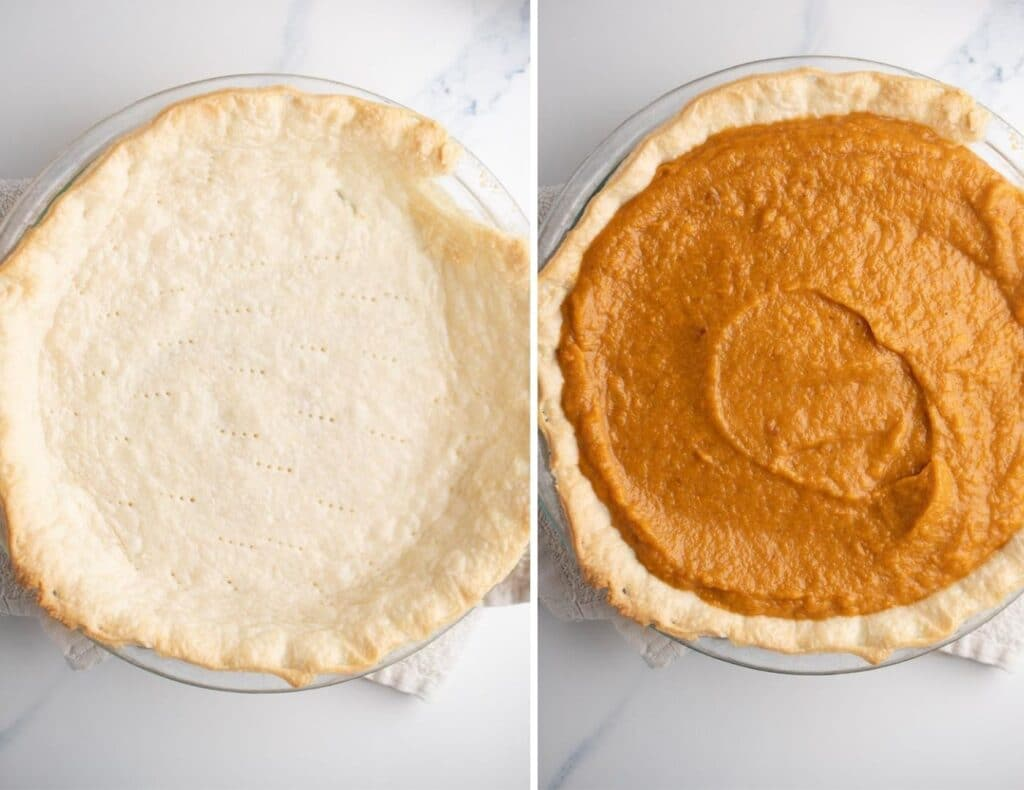 The pie filling in the crust