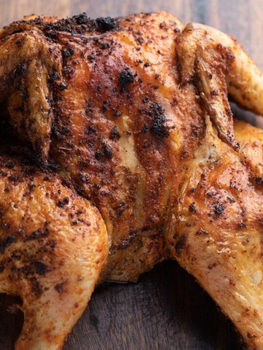 roasted chicken on cutting board