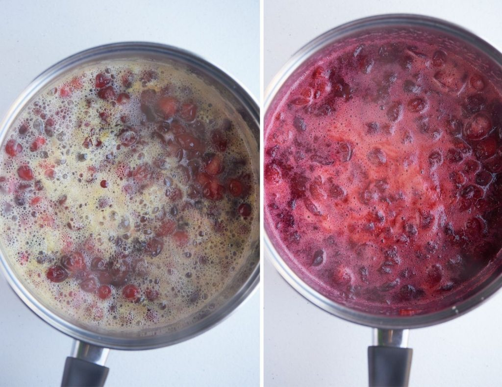 Two photos to show the cranberries cooking down in a pot.