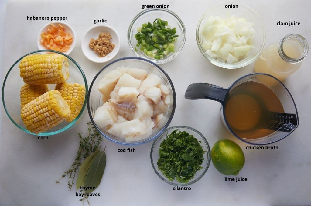 The ingredients to make the soup on a kitchen worktop.