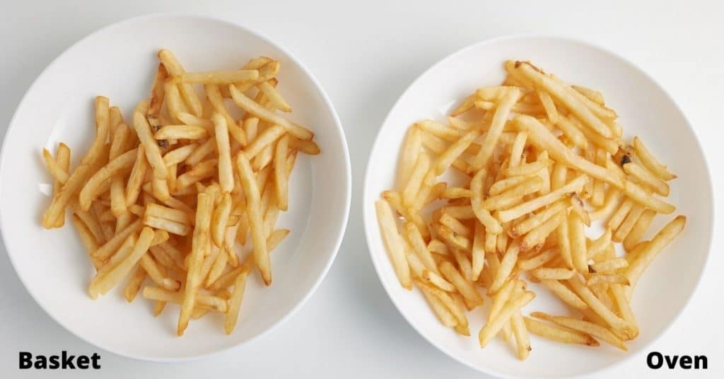 cooked french fries on 2 white plates, with the text basket on left, the text oven on right