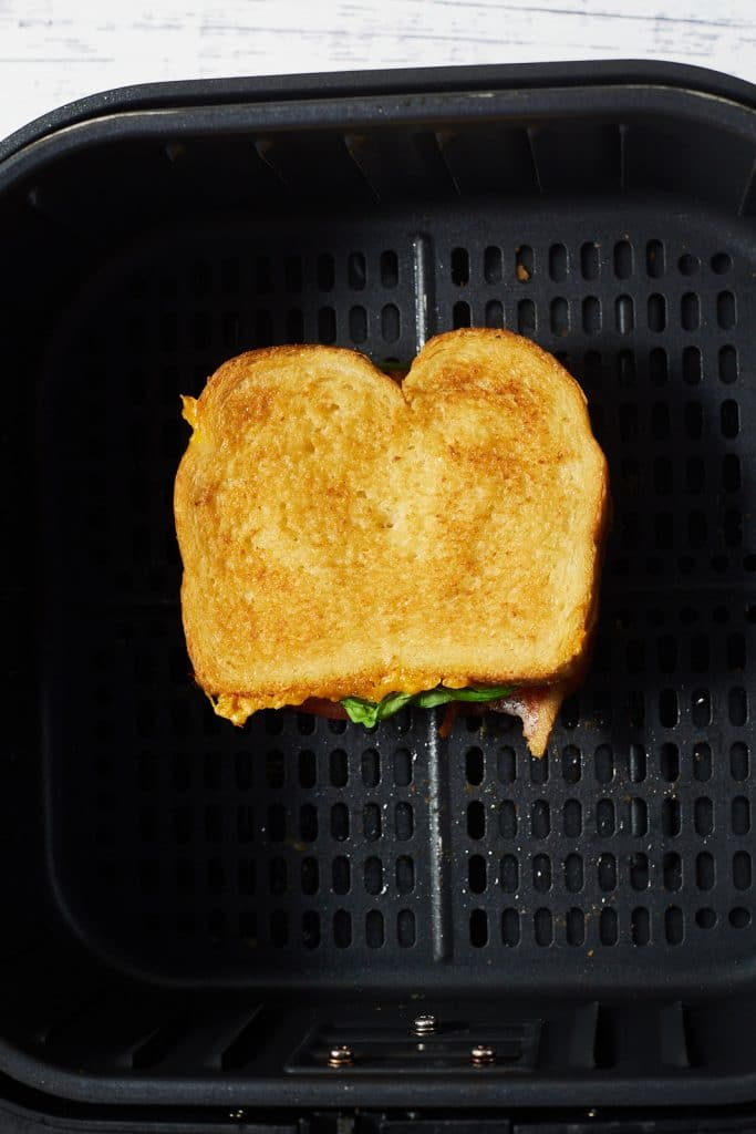 A BLT grilled cheese sandwich in the air fryer.