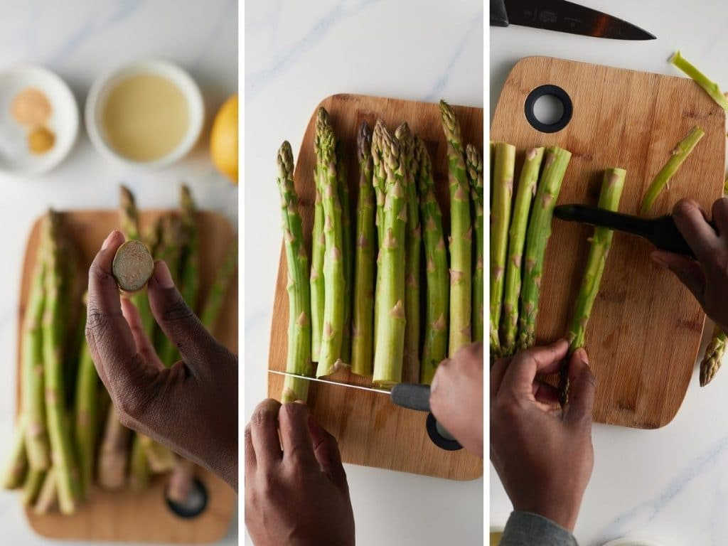 How to prepare the asparagus.