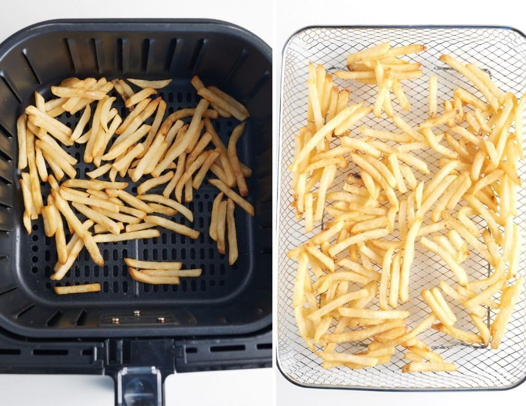 french fries in air fryer basket on left, french fries in air fryer oven tray on right