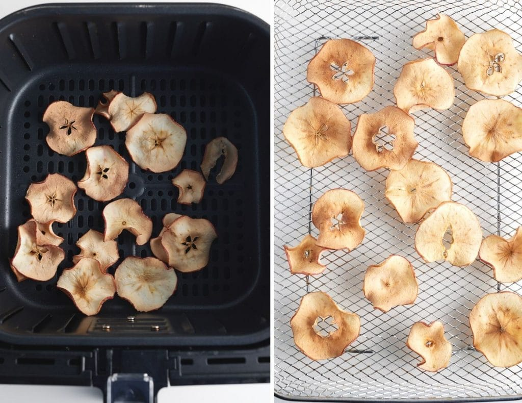 cooked apple slices in air fryer basket on left and apple slices in air fryer tray for oven on right