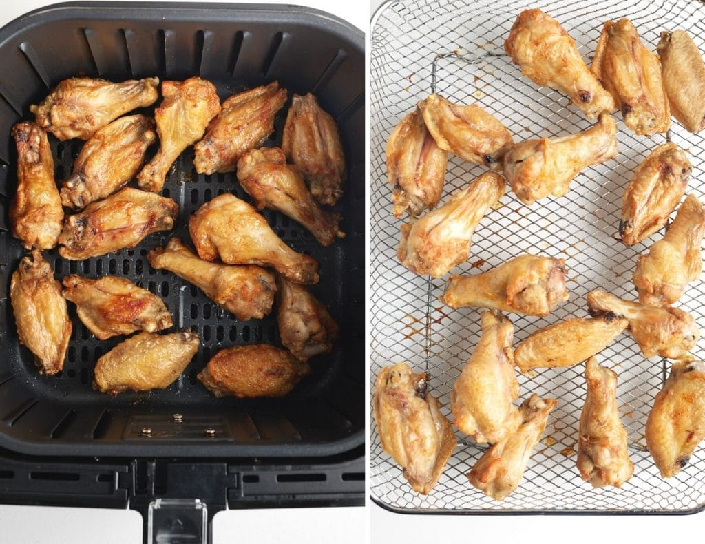 cooked chicken wings in air freyr basket on left, cooked chicken wings in air fryer oven tray on right