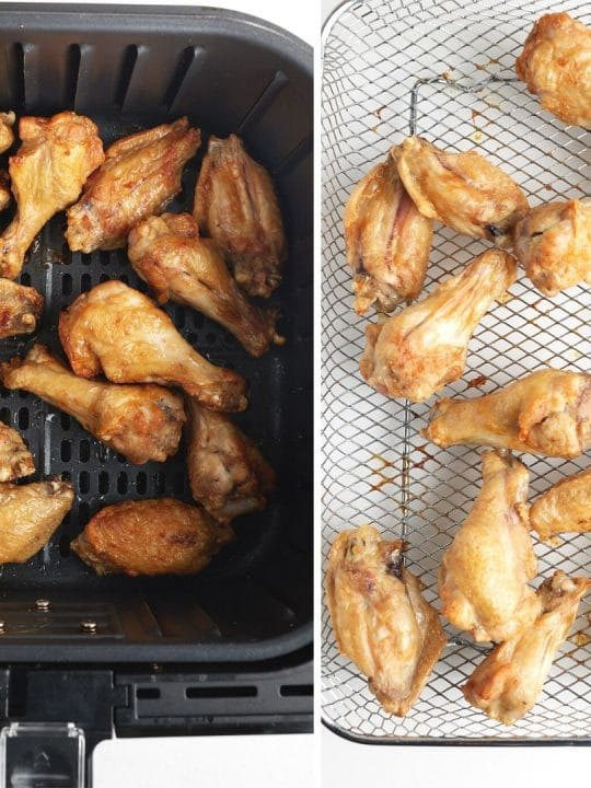 side by side of chicken wings in basket and air fryer tray