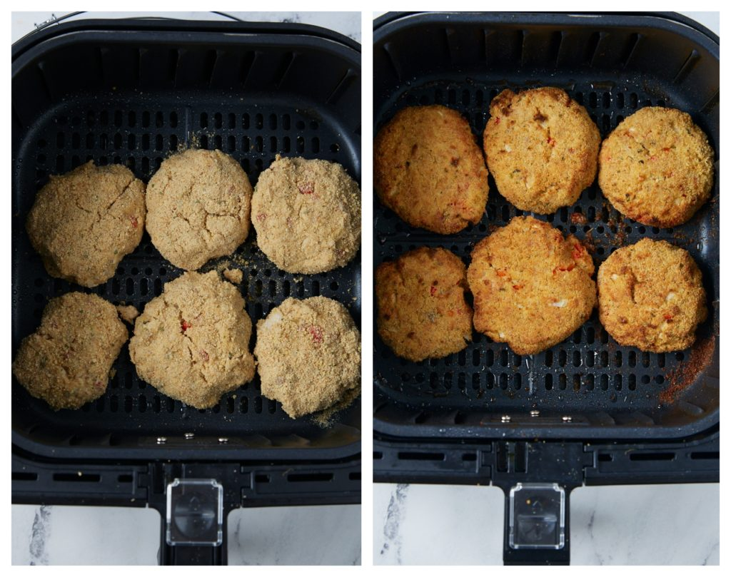 The salmon patties in the air fryer before and after cooking.