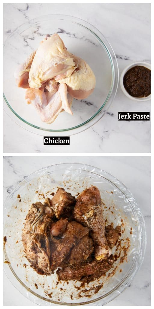 Two step by step photos to show how to marinate the chicken.