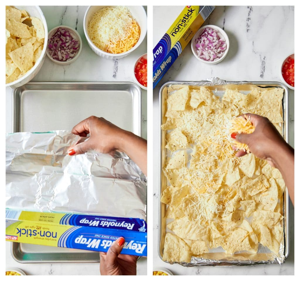 collage of hand laying down foil and then chips and cheese being placed on it