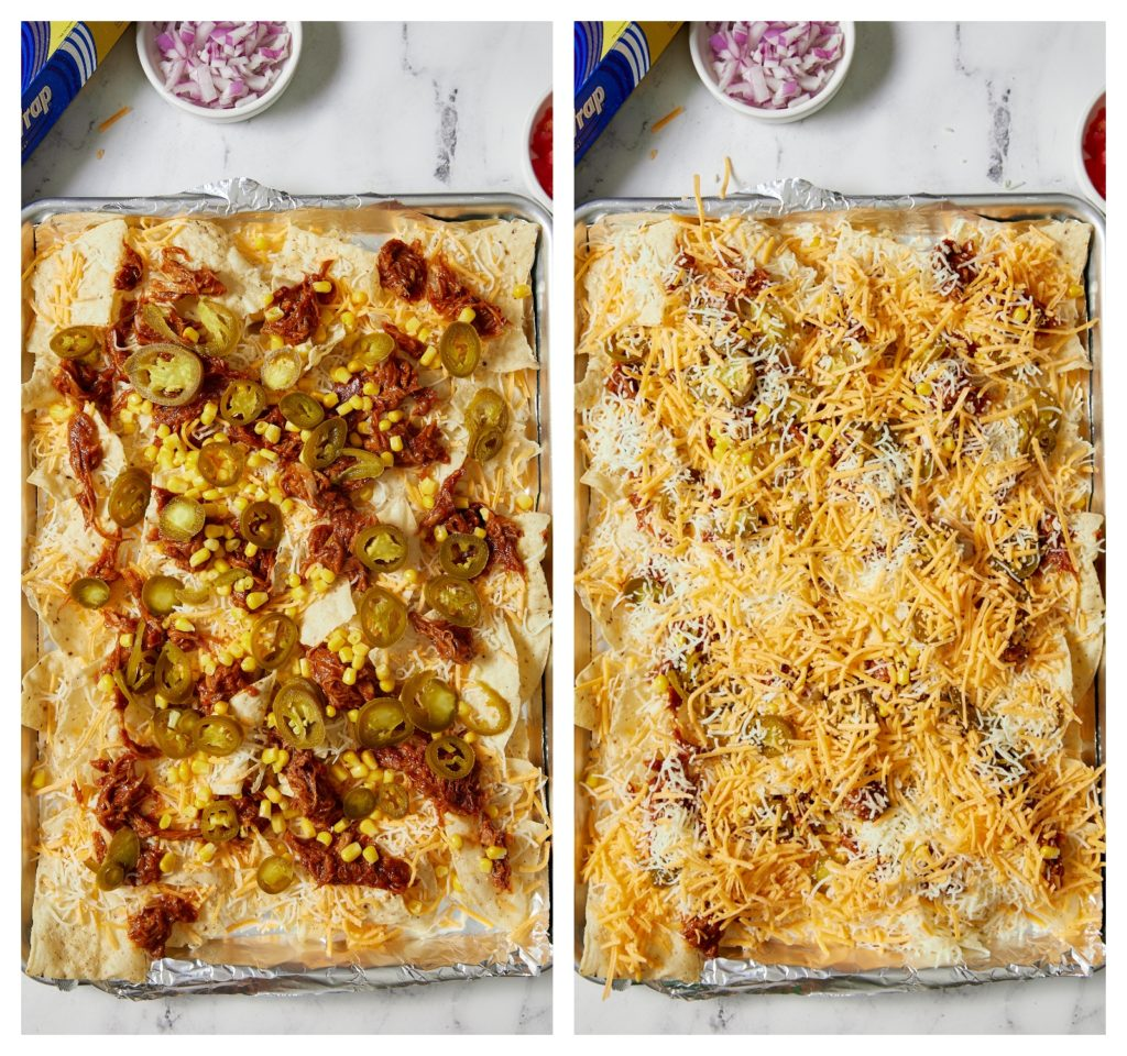 collage of nacho ingredients on sheet pan with foil