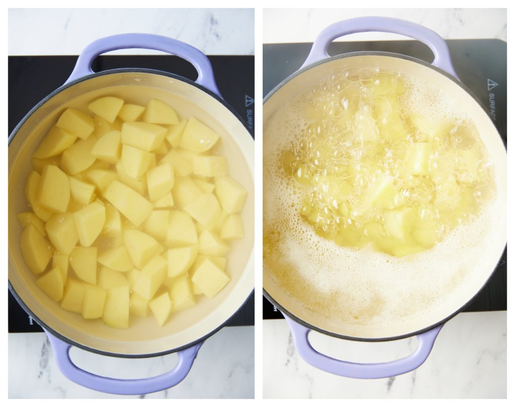 Boiling the potatoes.