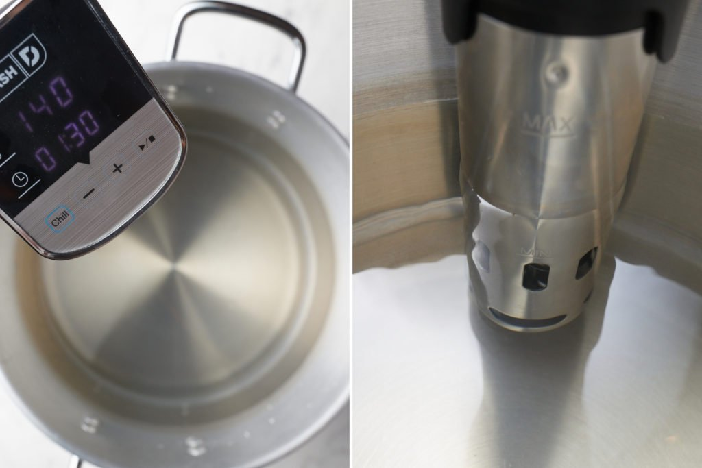 immersion circulator in large pot with water filled beyond the minimum line