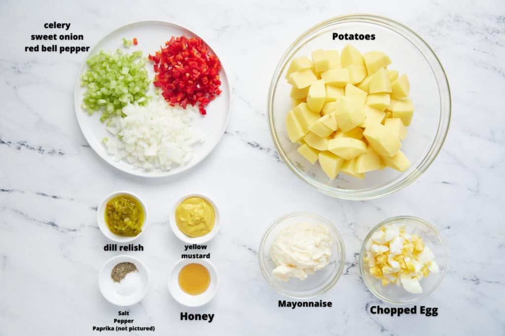 Ingredients for the recipe in bowls.