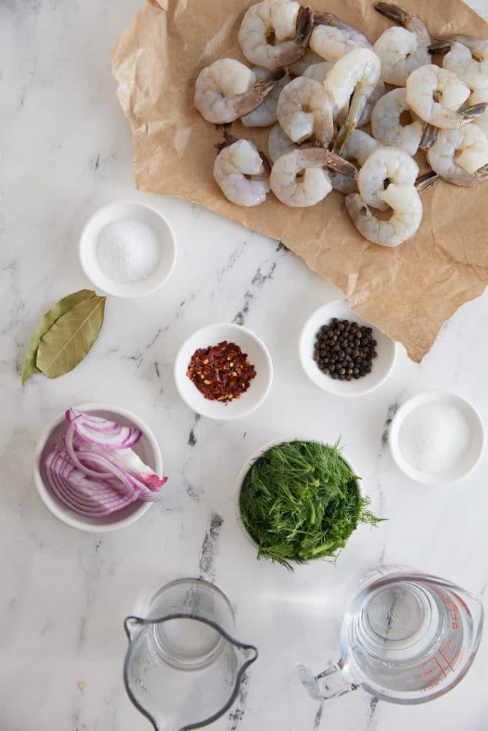 Ingredients to make the pickled shrimp.
