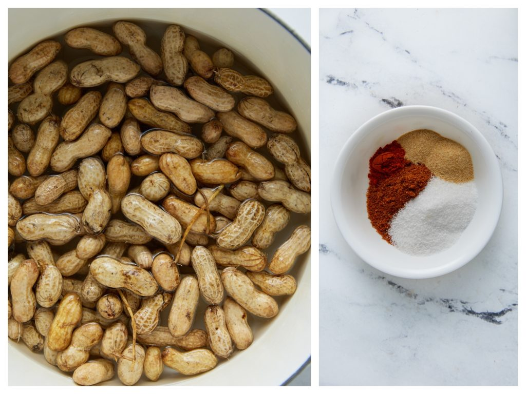 The rinsed peanuts and seasonings in a pot with cajun spices on the side.