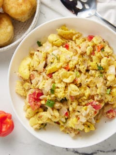 ackee and saltfish in white plate