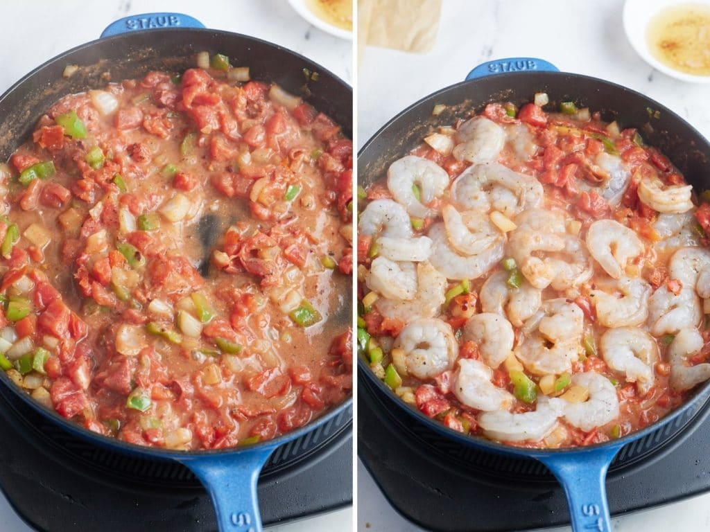 Two photos to show how to cook the shrimp in the sauce.