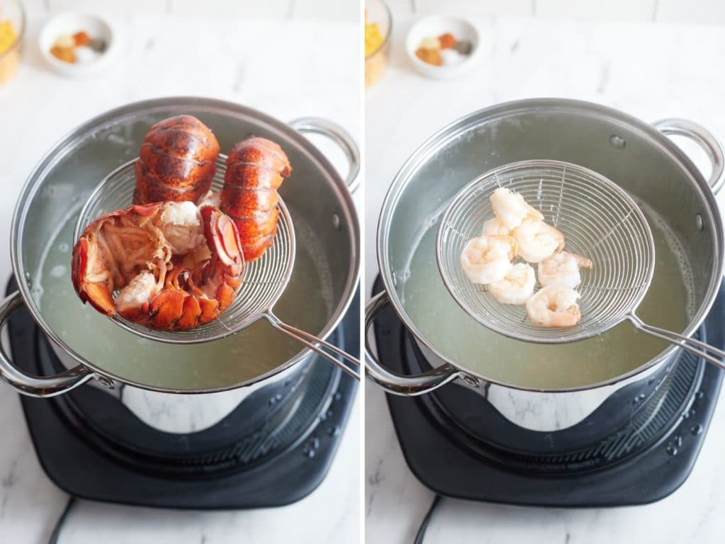 Two photos to show the seafood being cooked.