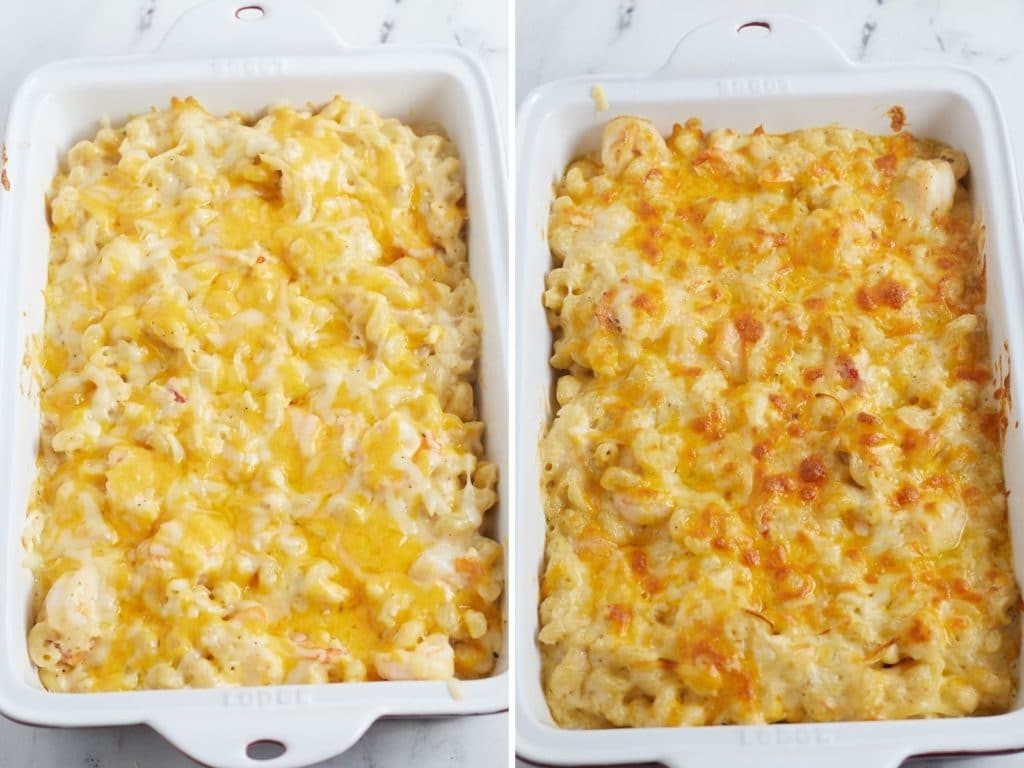 Seafood mac and cheese in a baking dish before and after baking.