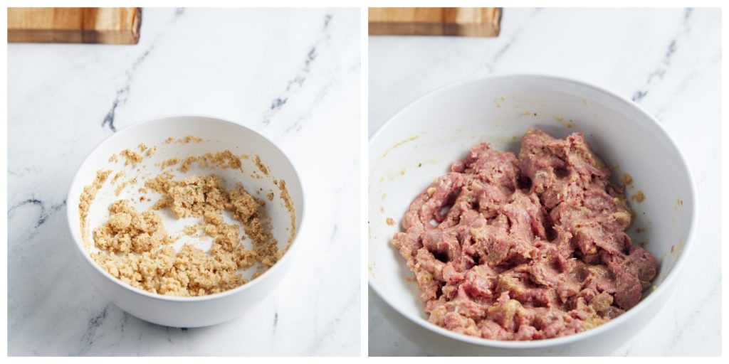Breadcrumbs combined in a bowl and beef and seasonings in another.