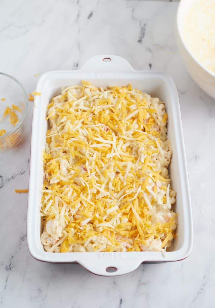 The pasta and sauce topped with shredded cheese.