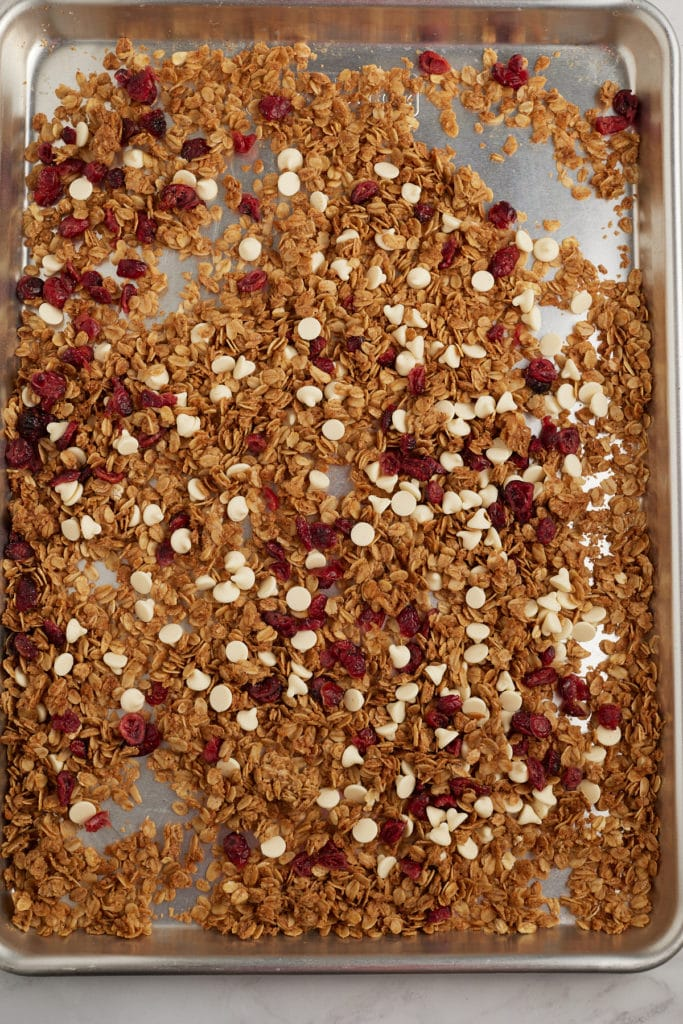 White chocolate and cranberries mixed into the cooked granola.