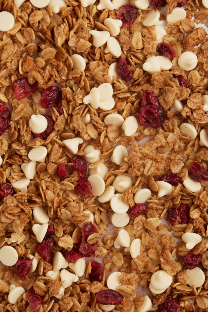 Close up of white chocolate and cranberry granola.