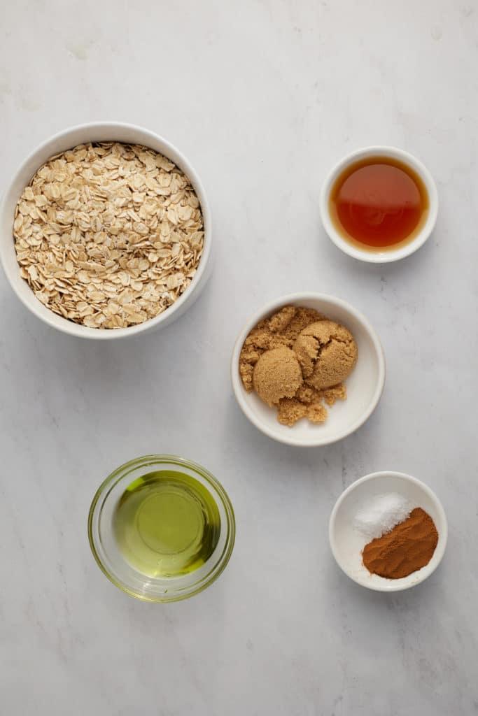 Ingredients to make air fryer granola.