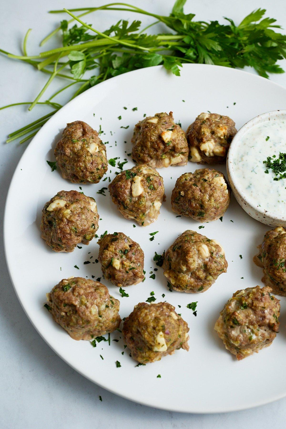 lamb meatballs on white plate