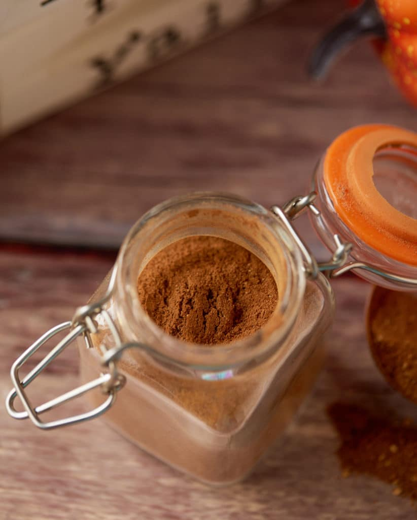 Overhead shot of the spice mix in a jar.