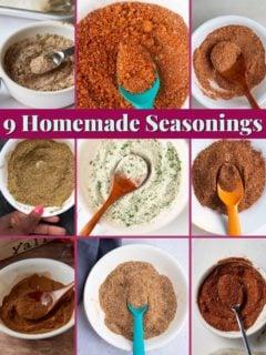 photo of homemade seasonings with text that states 9 homemade seasonings