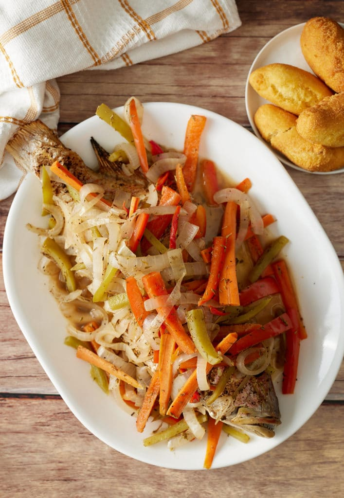 jamaican escovitch fish on a plate
