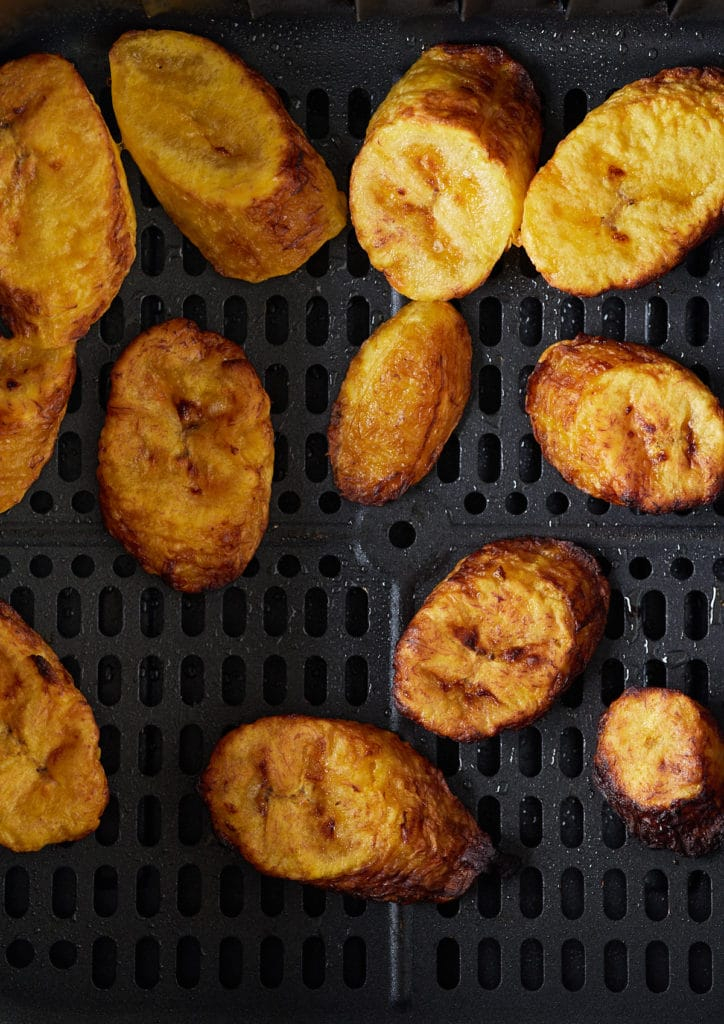 Close up of the plantains in the air fryer basket.