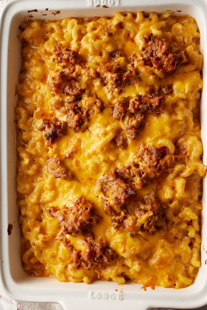 The BBQ mac and cheese after being baked.