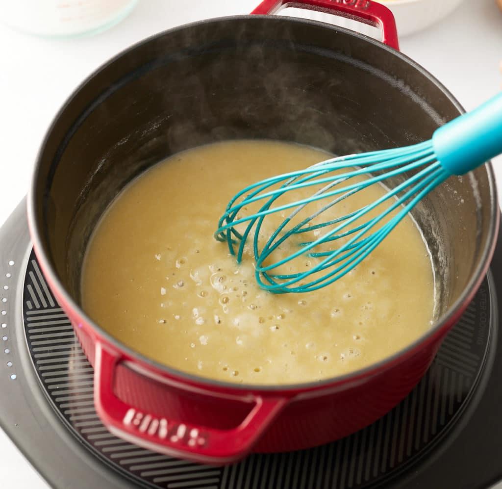 Whisking the flour.