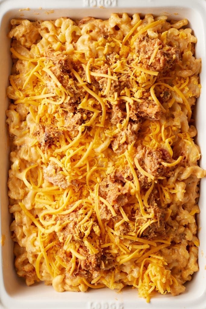 The mac and cheese topped with more cheese and BBQ pork.