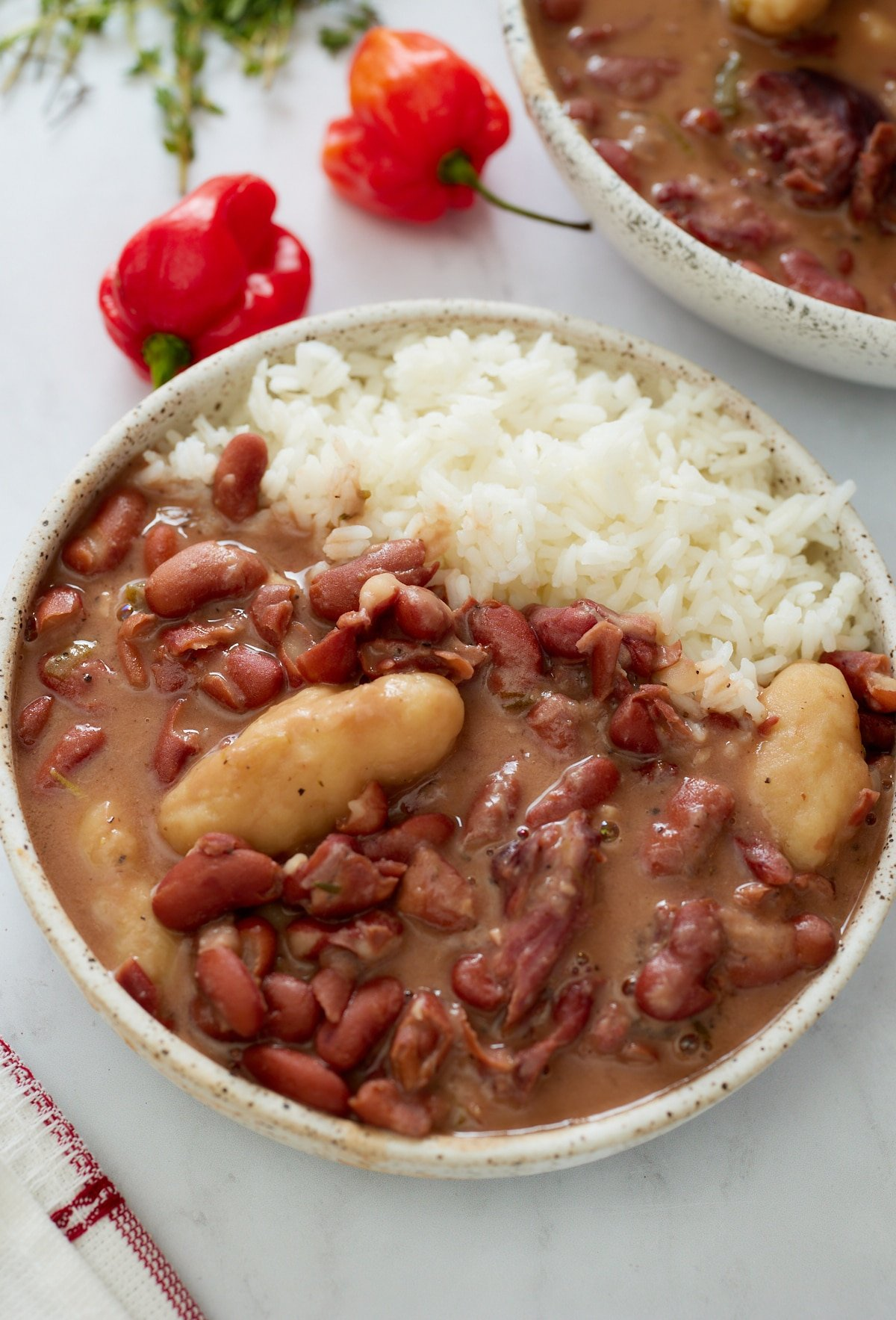 jamaican stew peas in bowl with white rice