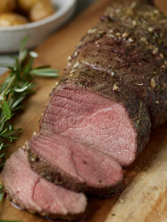 Beef tenderloin sliced and ready to serve.