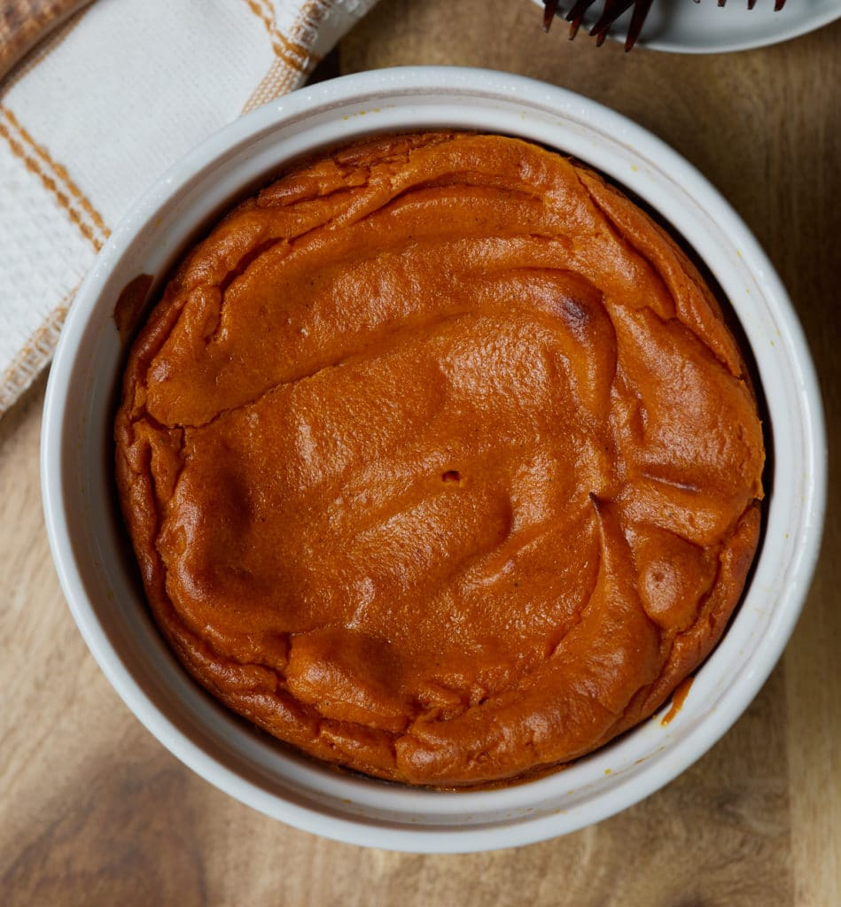 Overhead shot of the carrot souffle served to the table.