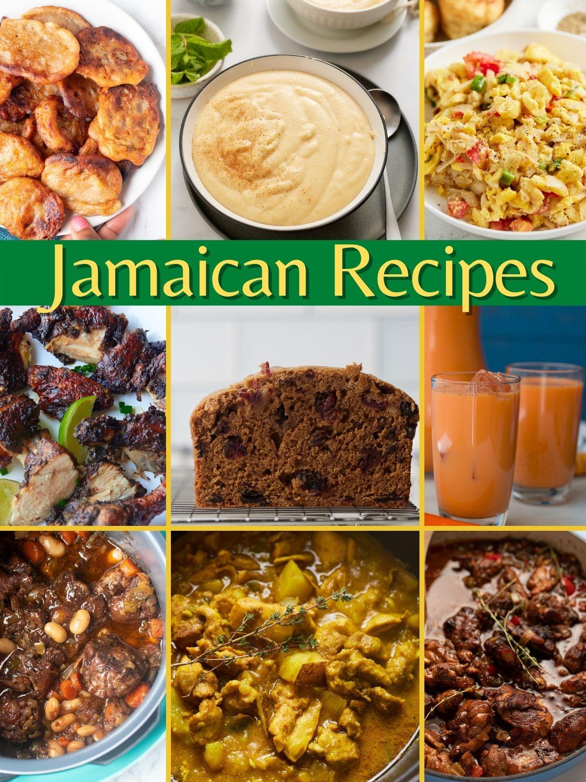 collage of popular jamaican recipes